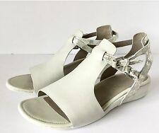 New ECCO Womens Wedge Sandal, Shadow White/Gravel