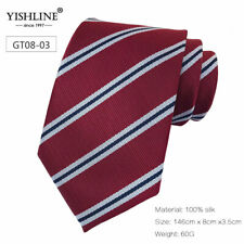 8CM Mens Tie Silk Ties Striped Blue Pink Men Wedding cravatta Ties Man Necktie