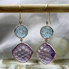 Double Drop Amethyst Blue Topaz Carved Dangling 18kt Yellow Gold Earrings