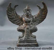 "3"" Old Tibetan Bronze Buddhism Redpoll Winged Garuda Bird Eagle Buddha Statue"
