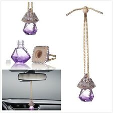Purple Bling Car Accessories Mirror Hanging Diamond Crystal Bottle for Girls