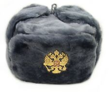 USHANKA*Russian Winter Hat*Military Style*w/Imperial Eagle Crest Badge *XXL*GRY