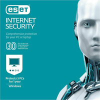 ESET INTERNET SECURITY 2019 3PCS ANTISPYWARE WINDOWS BRAND FACTORY SEALED RETAIL