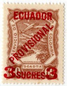 ECUADOR - SCADTA - 3s PROVISIONAL ISSUE - 1928 - Sc C5 - SIGNED - $ 85 RRR