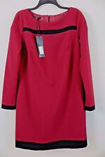 NWT Nife Maroon Black Boatneck Sheath Dress Size 42 MSRP $167