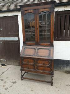 Solid Oak Bureau Bookcase, Jacobean Style