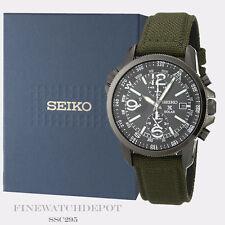 Authentic Seiko Men's Solar Chronograph Military Nylon Strap Watch SSC295