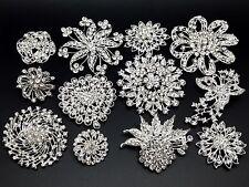12pc/lot Mixed 7L+5M Silver Rhinestone Crystal Brooches Pins DIY Wedding Bouquet
