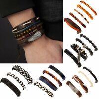 3/4/5pcs Mens Leather Beads Wrap Braided Wristband Cuff Punk Bracelet Bangle Hot