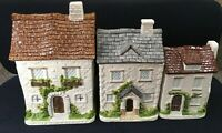 Vintage Otagiri English Cottage Ceramic Canisters Set Of 3 Hand Crafted Japan