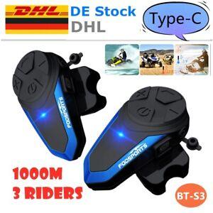 2x 1000m BT-S3 Bluetooth Motorcycle Intercom Intercom Full Duplex Headset FM