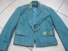 Ladies boho OLLY turquoise real leather JACKET BLAZER UK 12 10 hippy shabby chic