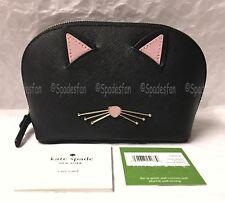 Kate Spade PWRU6680 Cat's Meow CAT Small ABALENE Cosmetics Case Bag BLACK NWT