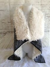 Angie Vest Medium Faux Fur Leather Trimmed Knit Open Cream Black $60