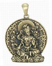 Green Tara Tibetan Buddhist Goddess Bronze Look Pendant with black cord #2581