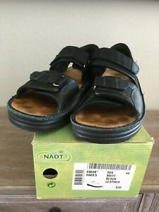 Naot Andes Men's Matt Black Leather Sandals SZ 44
