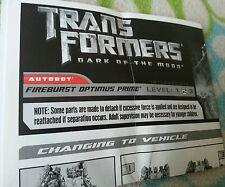 TRANSFORMERS DARK MOON FIREBURST OPTIMUS PRIME INSTRUCTION BOOKLET ONLY