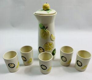 Vintage Mid Century Modern Ceramic Lemon Decanter Set Tumblers 6 Piece MCM