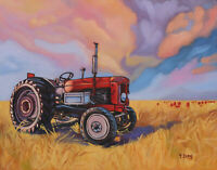 "Giclee fine art print of oil painting red tractor in farm, landscape 11""×14"""