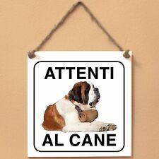 San Bernardo 3 Attenti al cane Targa piastrella cartello ceramic tile sign dog