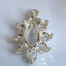 Solid Silver 8x4mm Marquise Cluster Dangle Pendant