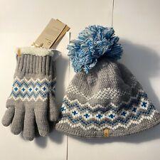 NEW Timberland Touchscreen Glove Beanie Hat Set Gray Fleece Retail $98 NWT Cute