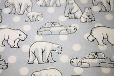 Fabric Flannelette Baby Polar Bears Arctic Blue Cotton Material HALF METREx112cm
