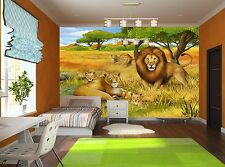 Photo Wallpaper  The Safari- Lions GIANT WALL DECOR PAPER POSTER FREE PASTE