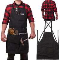 Heavy Duty Waxed Canvas Work Hobby Apron Large Tool Pocket Black Adjustable