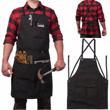 Pro Heavy Duty Waxed Canvas Work Hobby Apron Large Pocket Black Tool Pockets