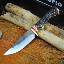 440C Forge Camping Outdoor Knives Imitation Deer Horn Handle Collector Knifes
