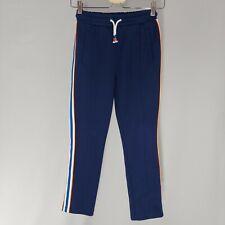 Boden Pants Youth 10 Pull-on Elastic Drawstring Stripe Ponte Knit Blue Orange