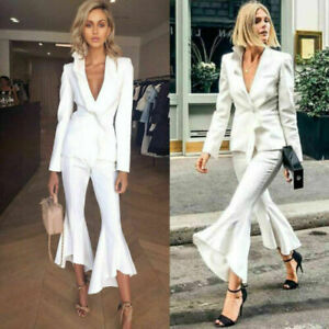 Women Suits White Ruffle Deep V Business Formal Party Prom Suits Custom Made