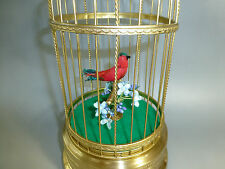 Rare Vintage Japanese Mechanical Singing Bird Cage Musical Clockwork Automaton