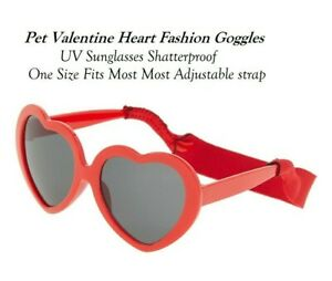 Pet Dog Valentine Heart Love Fashion Goggles UV Sunglasses Shatterproof  -1 Size