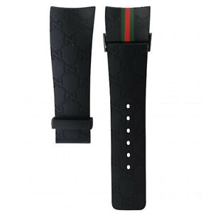 Black Replacement Genuine Watch Strap Band For I-Gucci Digital Men's Watch 26MM