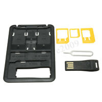 SIM Card Holder Storage Case w/ Memory Card Reader 3 SIM Adapters & iPhone