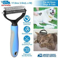 Pet Grooming Tool Dog Cat Dematting Rake Brush Dual Sided Fur Deshedding Comb US