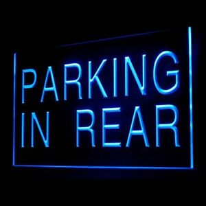 120042 Parking In Rear Car Park Area Private Public Display LED Light Neon Sign
