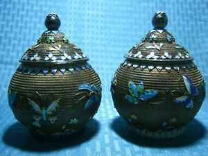 Pair Antique Chinese Export Gilt Silver Filigree Enamel Butterfly Box Marked