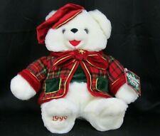 "Vtg 1999 Snowflake Teddy Bear White Plush Boy Christmas Red Green Jacket Hat 27"""