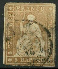 "SWITZERLAND - SVIZZERA - 1854 - Allegoria dell""Helvetia"" seduta -5 r."