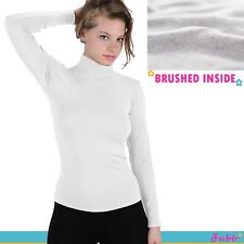 Winter Warm Fleece Lined Mock Neck Long Sleeve Stretch Thermal Thick Shirt
