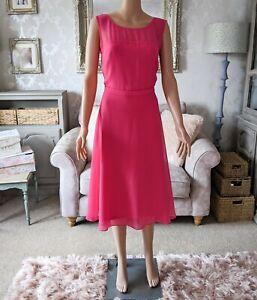 Designer Gina Bacconi 12 Dress Hot Fuchsia Pink Midi Chiffon Belt IMMACULATE