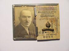 Bahnfahrschein,v Unterboihingen n Kirchheim Teck,Monatskarte i Blechrahmen. 1930
