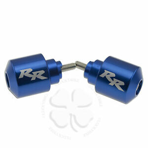 Handle Bar End CNC RR Engraved Blue For Honda CBR RR Slug Weight Slider Etched