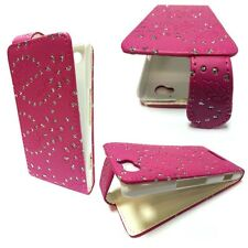 CASE FOR SONY XPERIA M GLITTER FLIP HOT PINK PU LEATHER POUCH PHONE COVER