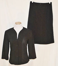 VTG CUE 90s 2pc Day to Eve CHIC Gray Skirt Sheer Button Top Blouse Shirt 10