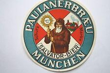 14534 Bier Etikett Paulaner Bräu München Salvator Bier 30er Jahre old beer label