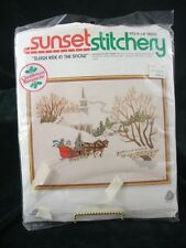 VINTAGE - SUNSET STITCHERY - SLEIGH RIDE IN THE SNOW - EMBROIDERY KIT - OPENED
